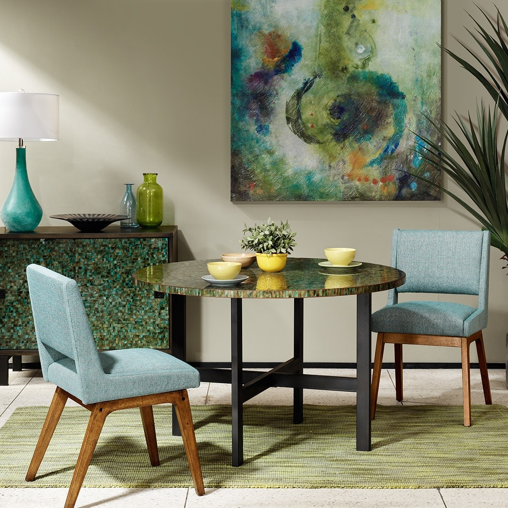 mosaic round dining table ink ivy olliix