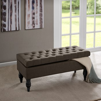 Luxe Button Tufted Storage Ottoman