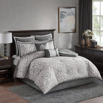 Odette 8 Piece Jacquard Comforter Set