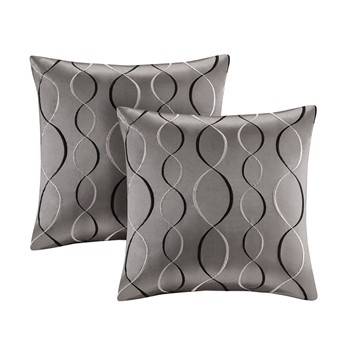 Serendipity Ogee Embroidered Taffeta Square Pillow Pair