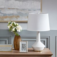 Deals on Madison Park Asheville White Ceramic Table Lamp