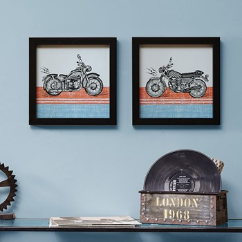 Racin' Motos Framed Gel Coated Paper 2 Piece Set