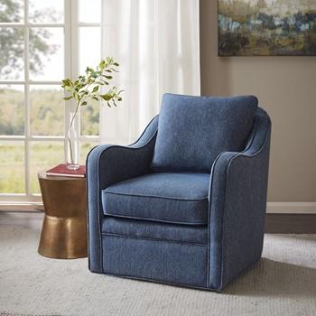 Brianne Slub Weave Wide Seat Swivel Arm Chair