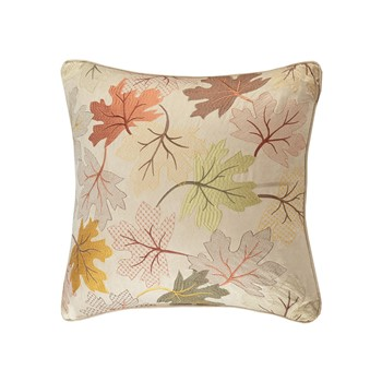 Fallen Leaves Embroidered Square Pillow