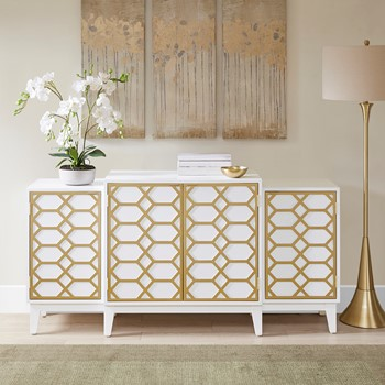Maria Dining Buffet Server Gold Lattice Design Kitchen Storage Cabinet
