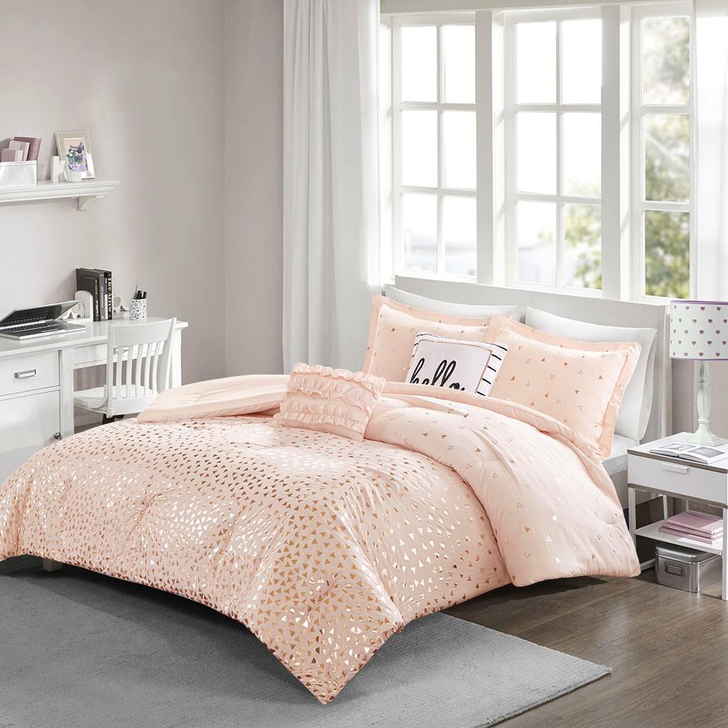 Full/Queen Zoey Metallic Triangle Print Comforter Set Micro Fiber