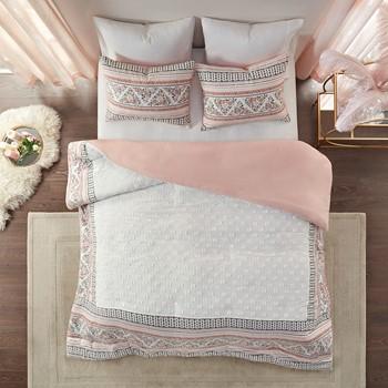 Moria 3 Piece Cotton Printed Clip Jacquard Duvet Cover Set