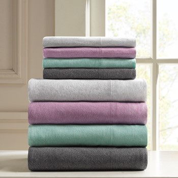 Heathered Cotton Jersey Knit Sheet Set