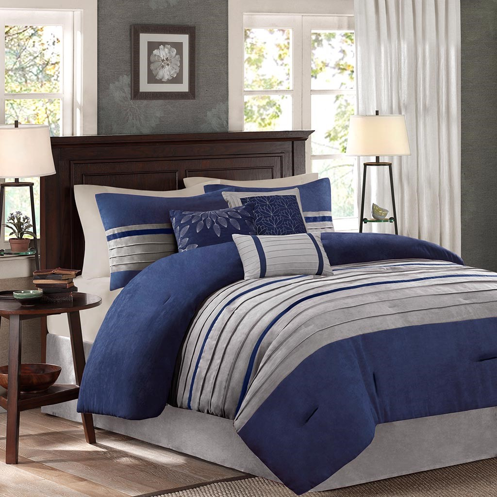 King Size Palmer 7 Piece Comforter Set Blue Transitional Madison