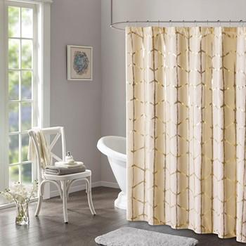 Raina Printed Metallic Shower Curtain