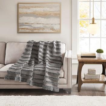 Nora Chenille and Faux Fur Throw