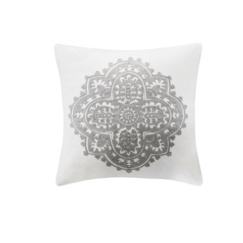 Bukhara Embroidered Cotton Square Decorative Pillow
