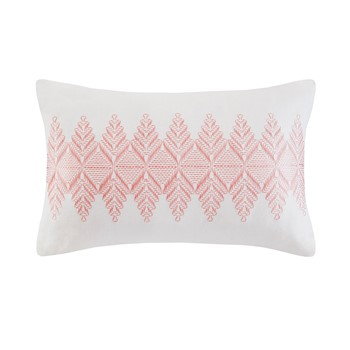 Simona Embroidered Cotton Oblong Decorative Pillow