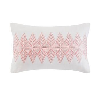 Simona Embroidered Cotton Oblong Decorative Pillow