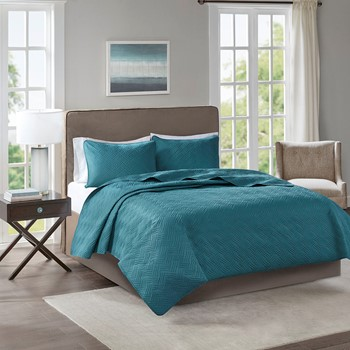 Lucca 3 Piece Reversible Embossed Coverlet Set
