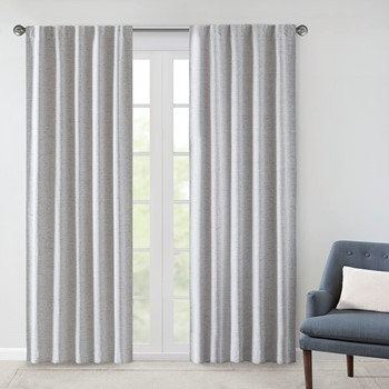 Ebon Woven Heathered 100% Total Blackout Curtain Panel Pair