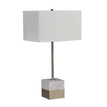 Carerra Marble and Metal Table Lamp