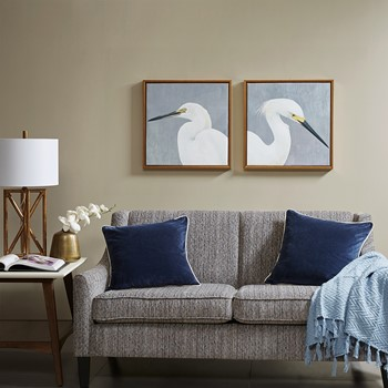 Seabird Thoughts Heavy Gel Coat Canvas With Gold Frame 2 Piece Set