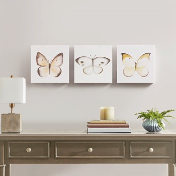 Vintage Butterfly Hand Embellished Butterfly 3 Piece Canvas Set