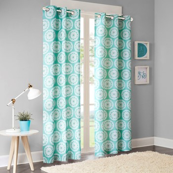 Torino Medallion Printed Curtain Pair