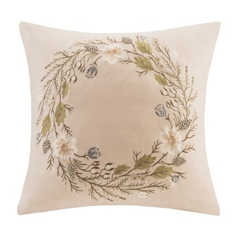 Wreath Embroidered Square Pillow