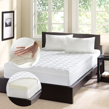 4.5 Inch Thick Memory Foam & Fiber Mattress Topper