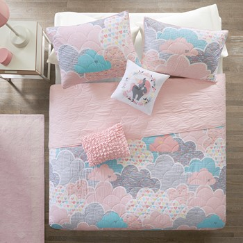 Cloud Cotton Printed Coverlet Set