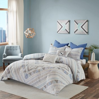 Rochelle 7 Piece Cotton Reversible Duvet Cover Set