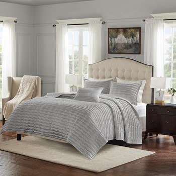 Chandler 4 Piece Charmeuse Pleated Coverlet Set