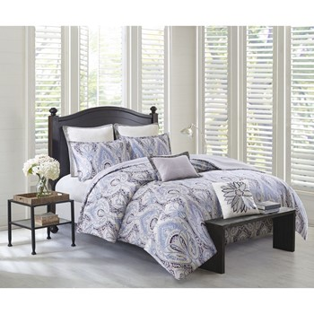 Ivy Paisley Cotton Sateen Reversible Duvet Cover Set