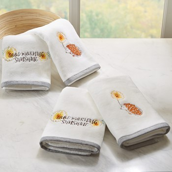 Sunshinin' Day 4 Piece Embroidered Towel Set
