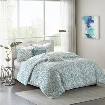 Elena 5 Piece Cotton Percale Reversible Duvet Cover Set