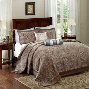 Aubrey 5 Piece Reversible Jacquard Bedspread Set
