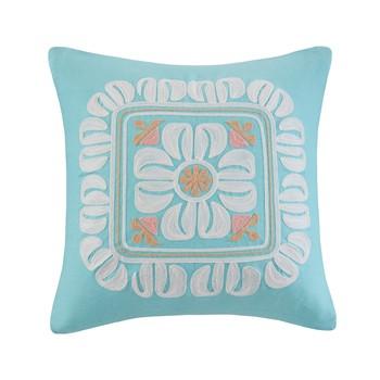 Simona Embroidered Cotton Square Decorative Pillow
