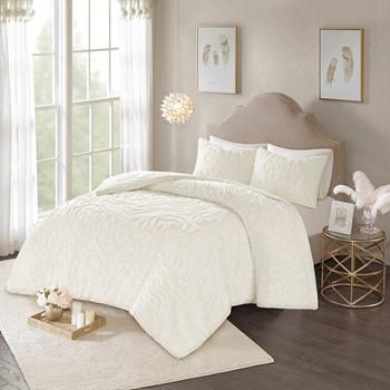 Laetitia 3-Piece Tufted Cotton Chenille Medallion Comforter Set