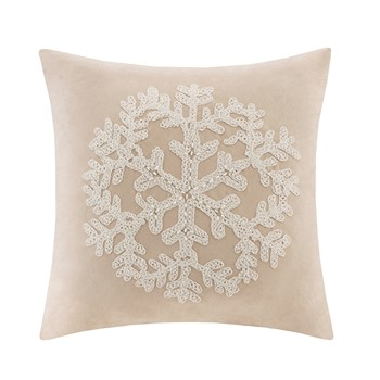 Snowflake Embroidered Suede Square Pillow Square Pillow