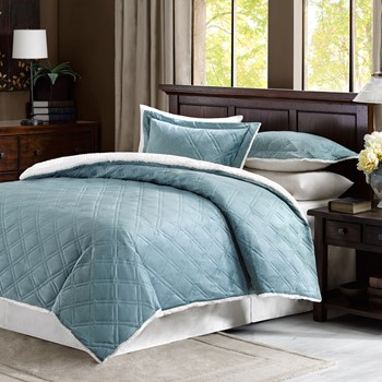 Braxton Double Diamond Mink Reverse to Berber Comforter Mini Set