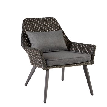 Maple Outdoor Resin Wicker Basketweave Long Back Accent Chair With Seat Cushions