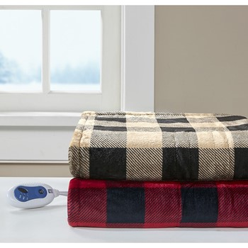 Buffalo Check Heated Plush Throw