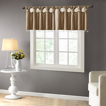 Emilia Twist Tab Valance With Beads
