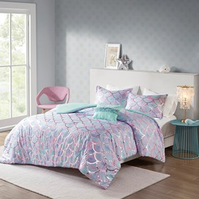 Pearl Metallic Printed Reversible Comforter Set