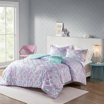 Pearl Metallic Printed Reversible Comforter Set