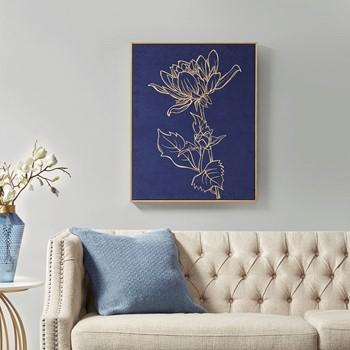 Velvet Lotus Framed Velour Canvas with Gold Foil