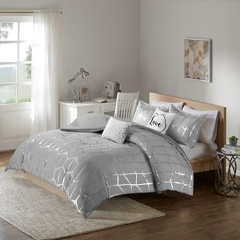 Raina Metallic Print Comforter Set