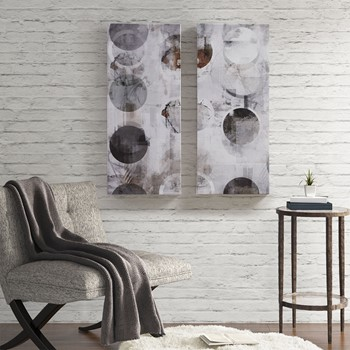 Circular Meridian Printed Abstract Canvas 2 Piece Set
