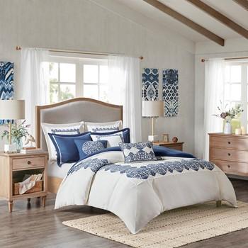 Indigo Sky Faux Linen Oversized Comforter Set