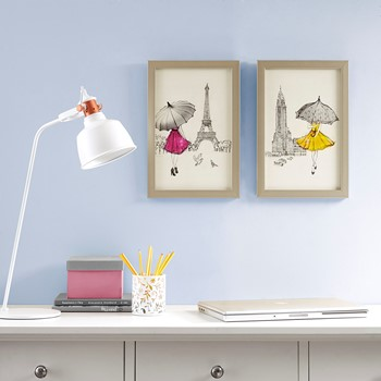 A Funday Stroll Framed Gel Coated Paper 2 Piece Set