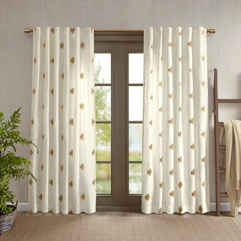 Stella Dot 100% Cotton Metallic Gold Embroidered Window Panel with Lining
