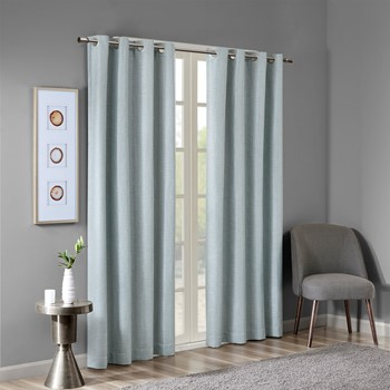 Maya Printed Heathered Blackout Grommet Top Curtain Panel