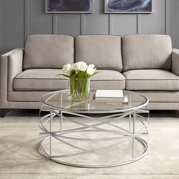 Nora 36 Inch Round Coffee Table With Metallic Silver Metal Frame